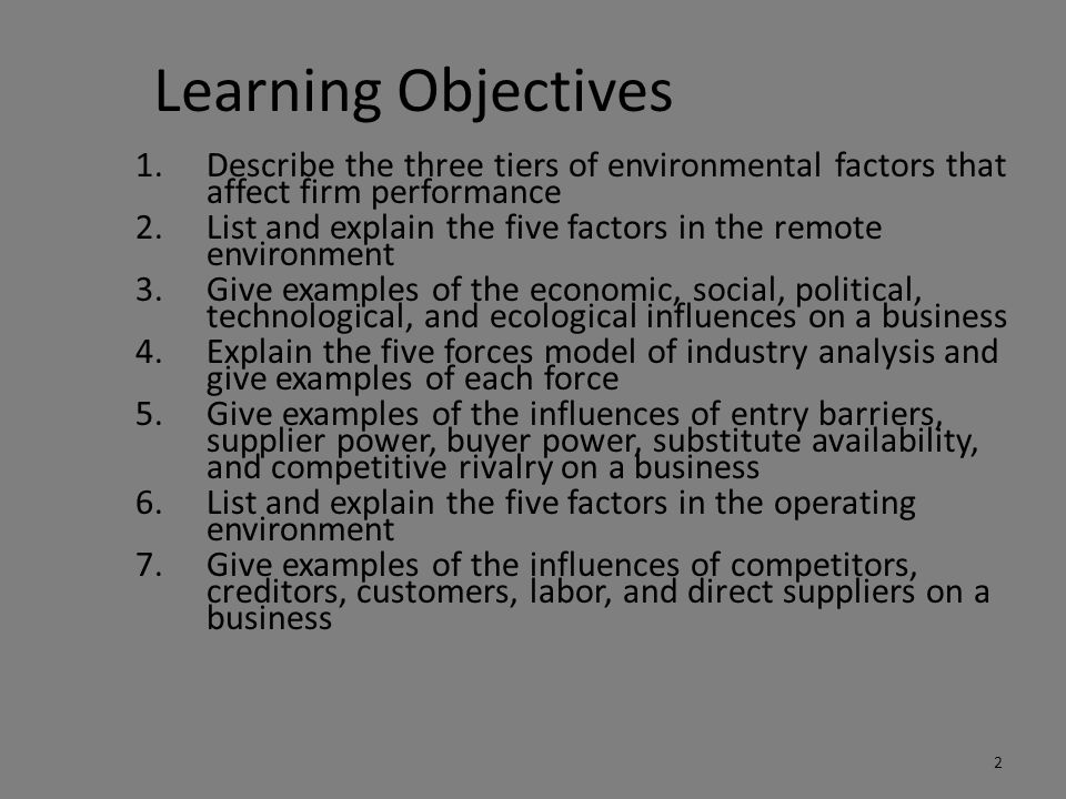 Learning Objectives Describe the three tiers of environmental factors that affect firm performance.