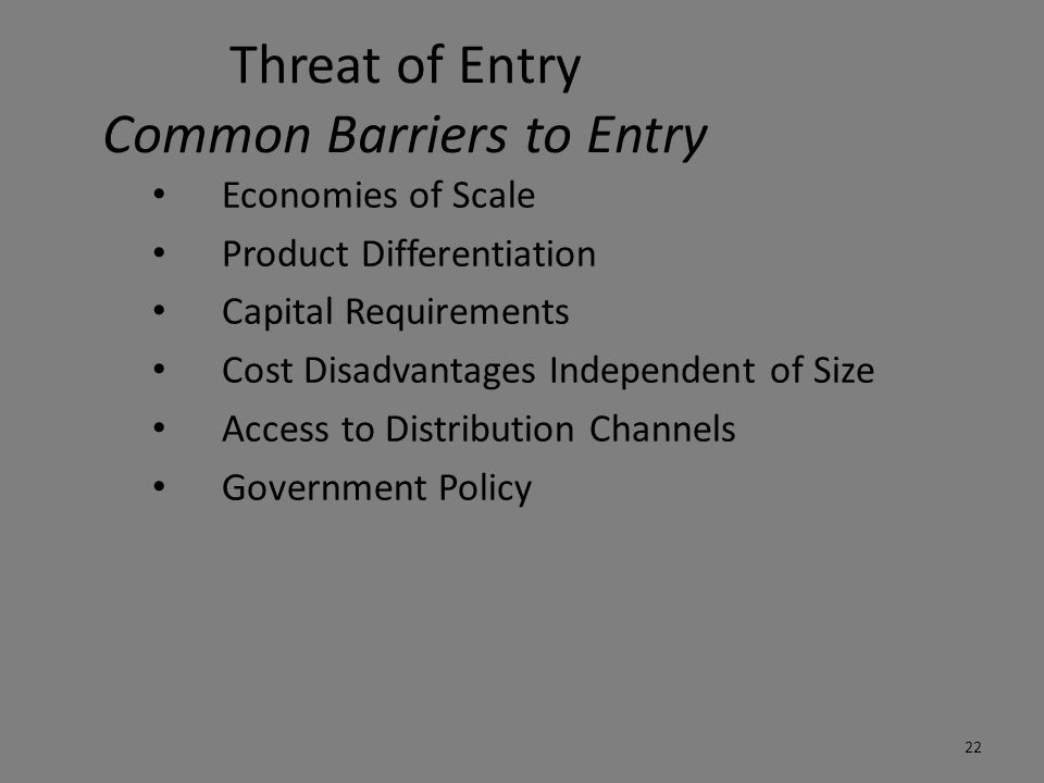Threat of Entry Common Barriers to Entry