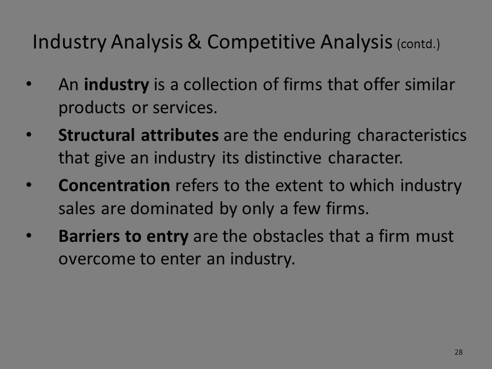 Industry Analysis & Competitive Analysis (contd.)