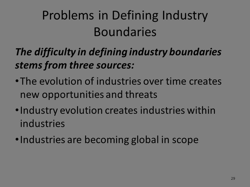 Problems in Defining Industry Boundaries