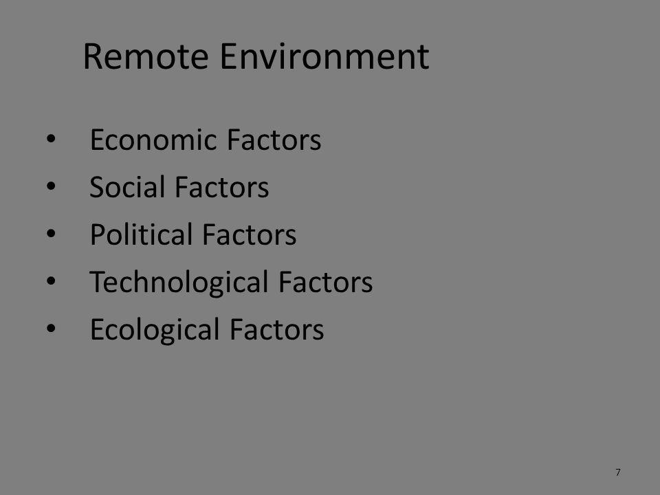 Remote Environment Economic Factors Social Factors Political Factors