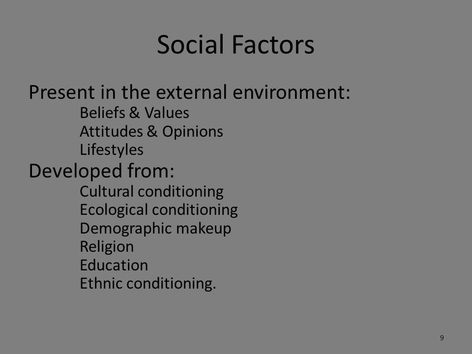 Social Factors Present in the external environment: Developed from: