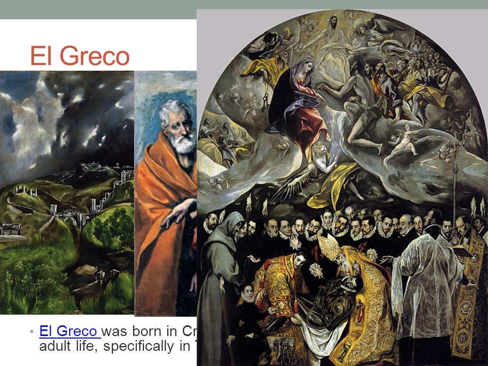El Greco El Greco was born in Crete, but lived in Spain for much of his adult life, specifically in Toledo, Spain.
