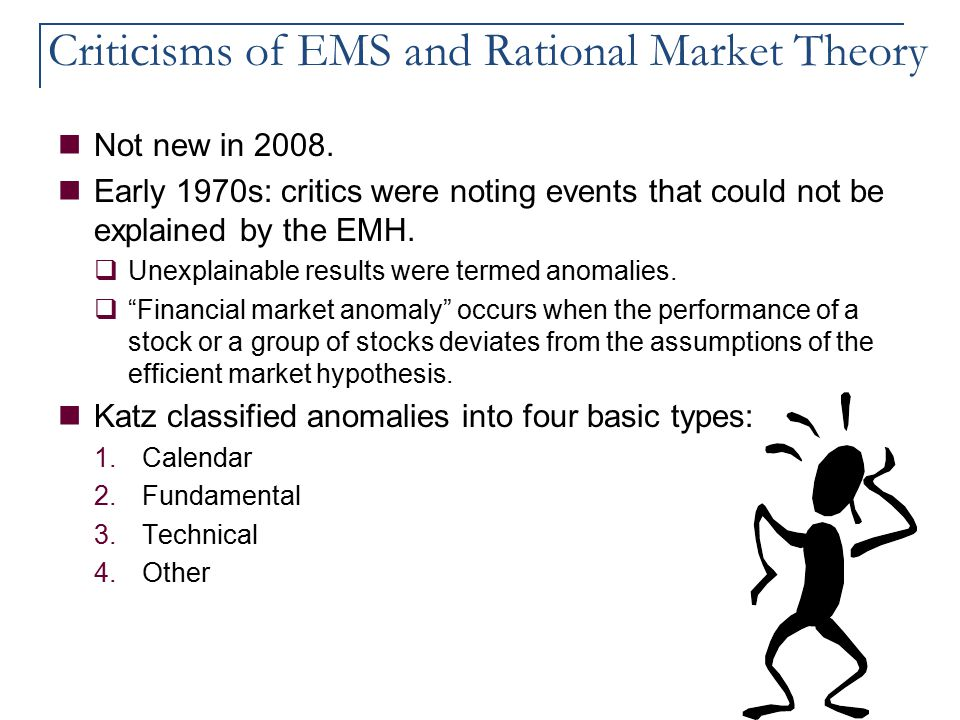 Criticisms of EMS and Rational Market Theory