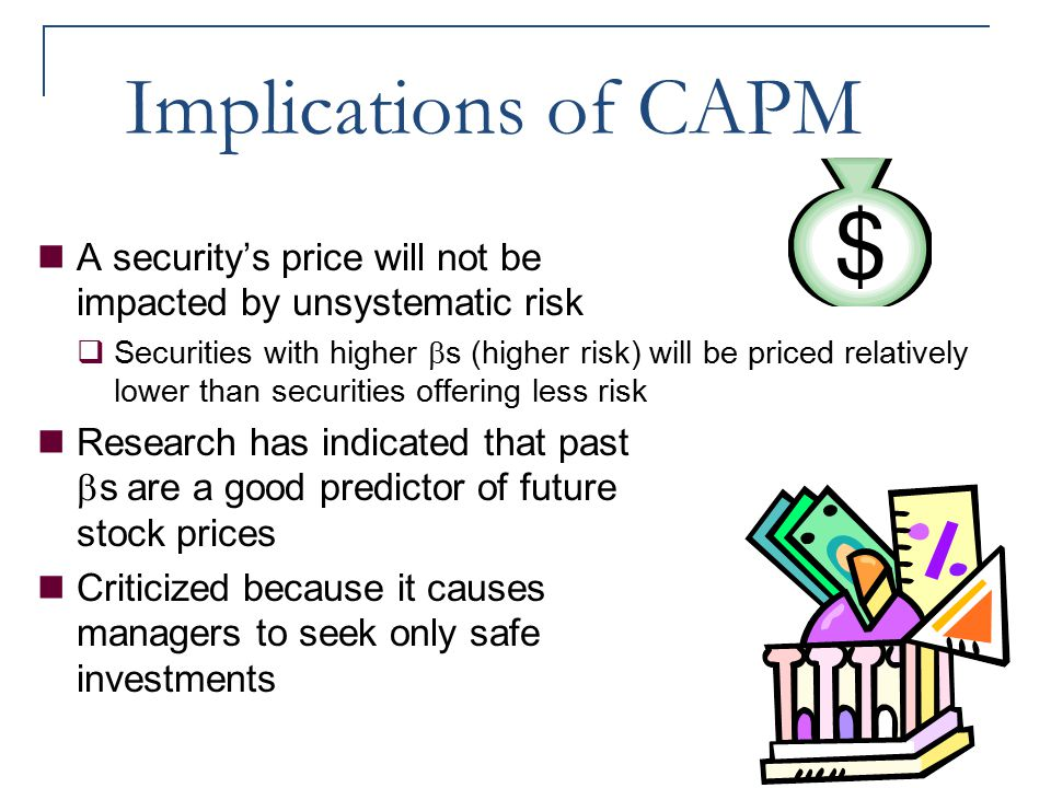 Implications of CAPM A security's price will not be impacted by unsystematic risk.