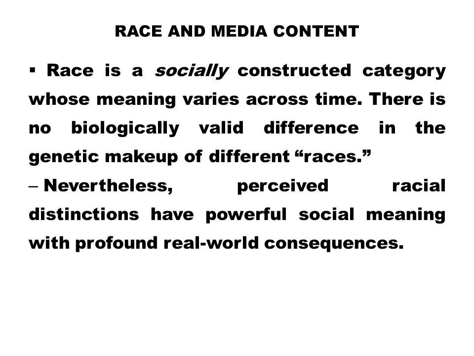 Race and Media Content