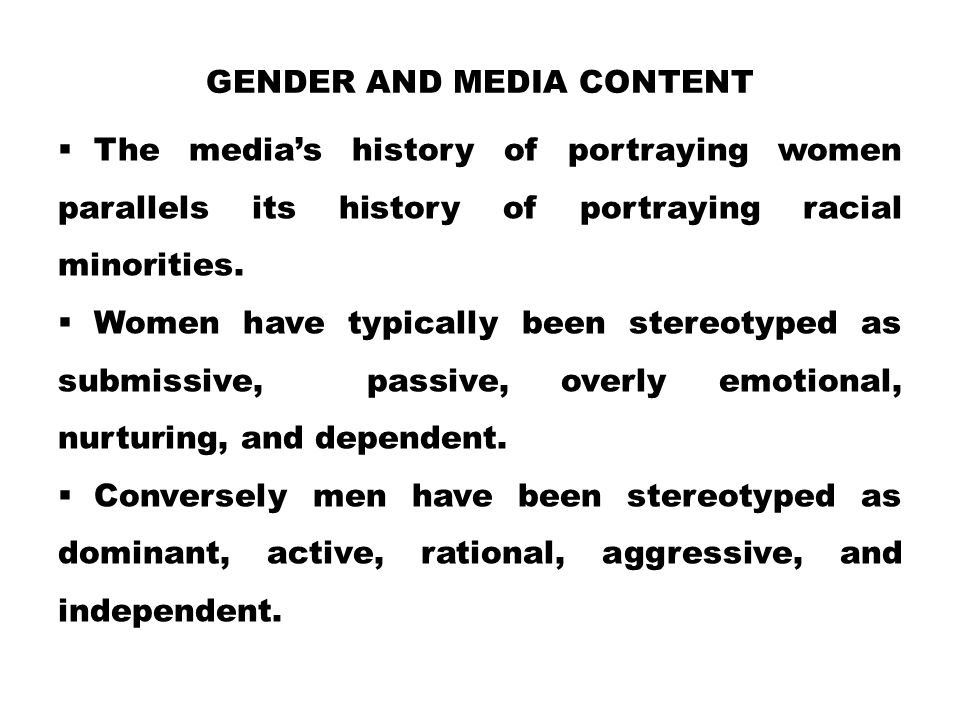 Gender and Media Content