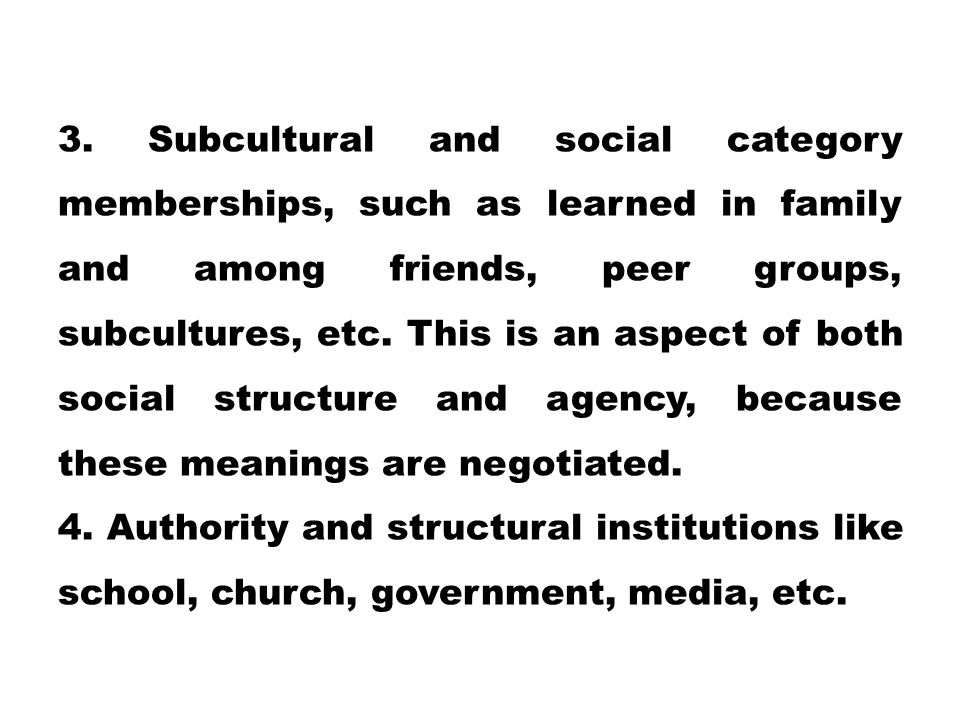 3. Subcultural and social category memberships, such as learned in family and among friends, peer groups, subcultures, etc. This is an aspect of both social structure and agency, because these meanings are negotiated.