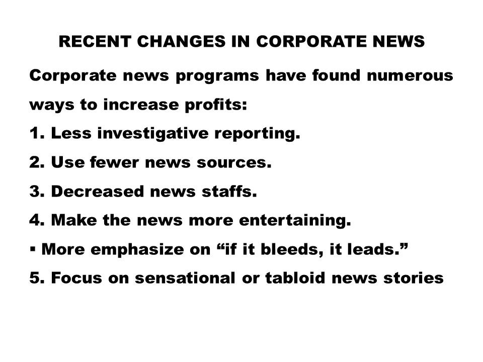 Recent Changes in Corporate News