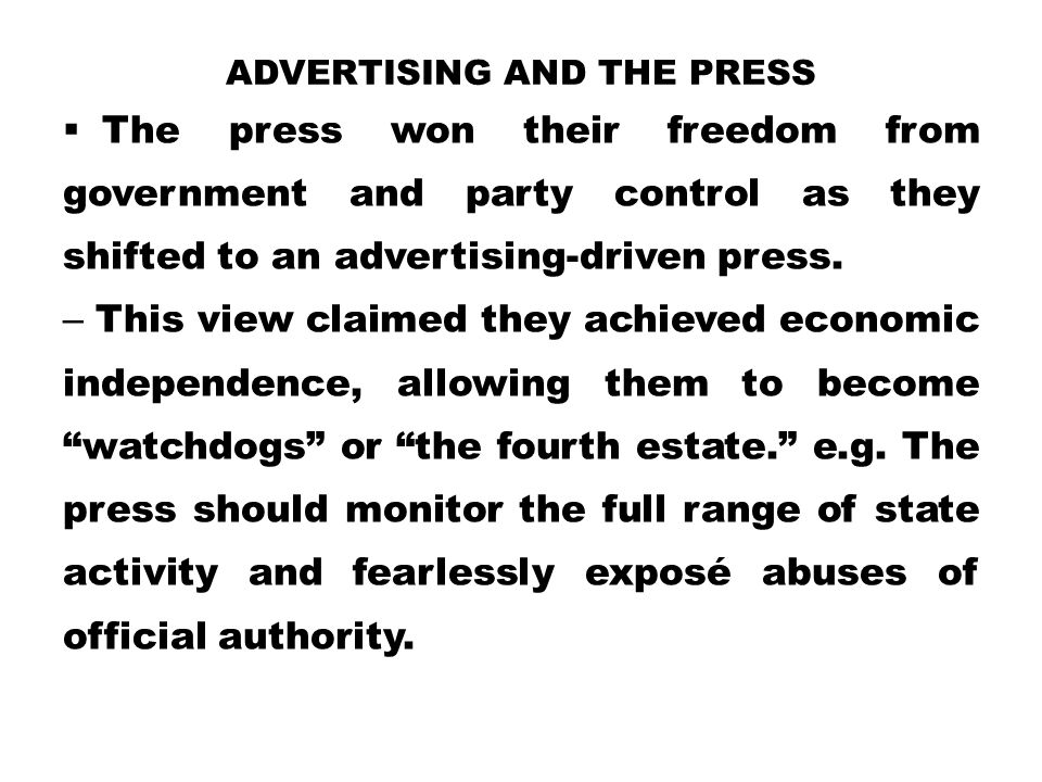 Advertising and the Press