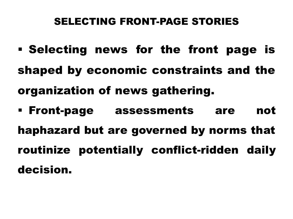 Selecting Front-Page Stories