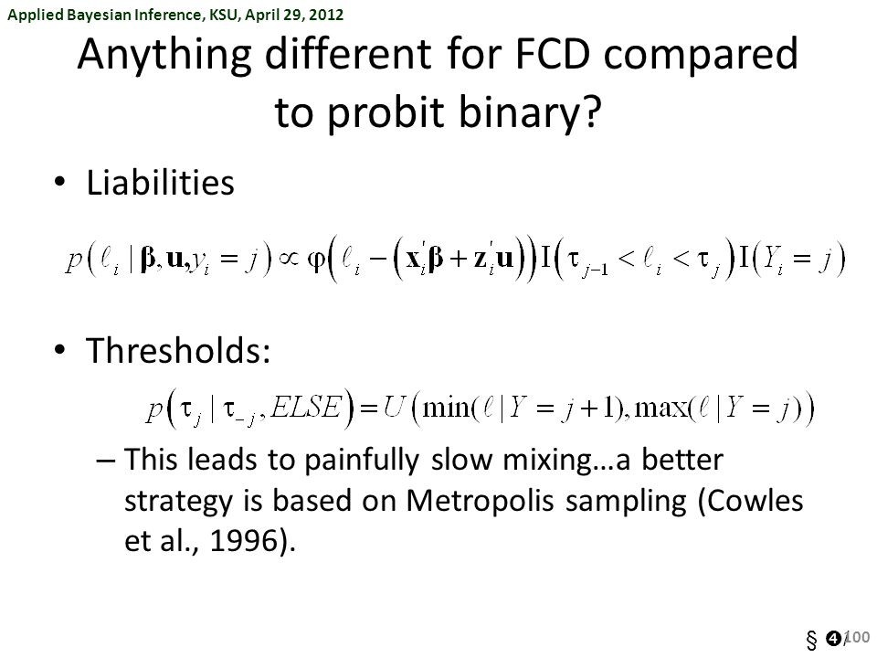 Anything different for FCD compared to probit binary