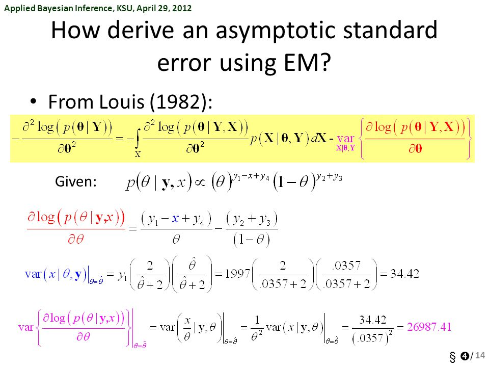 How derive an asymptotic standard error using EM