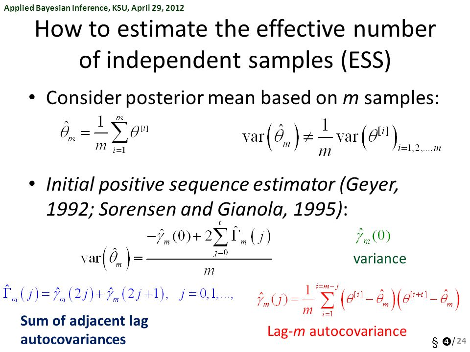 How to estimate the effective number of independent samples (ESS)