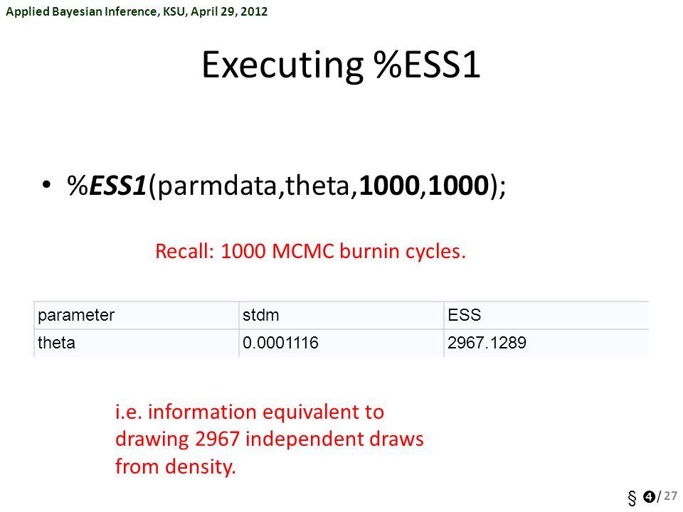 Executing %ESS1 %ESS1(parmdata,theta,1000,1000);