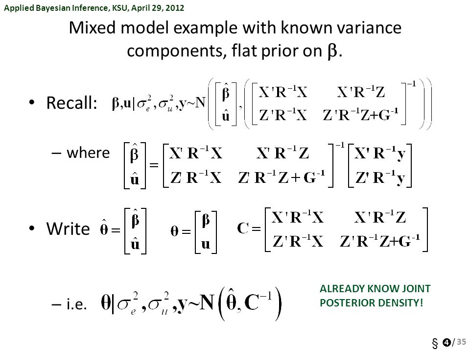 Mixed model example with known variance components, flat prior on b.