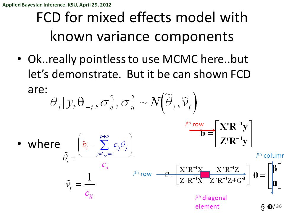 FCD for mixed effects model with known variance components