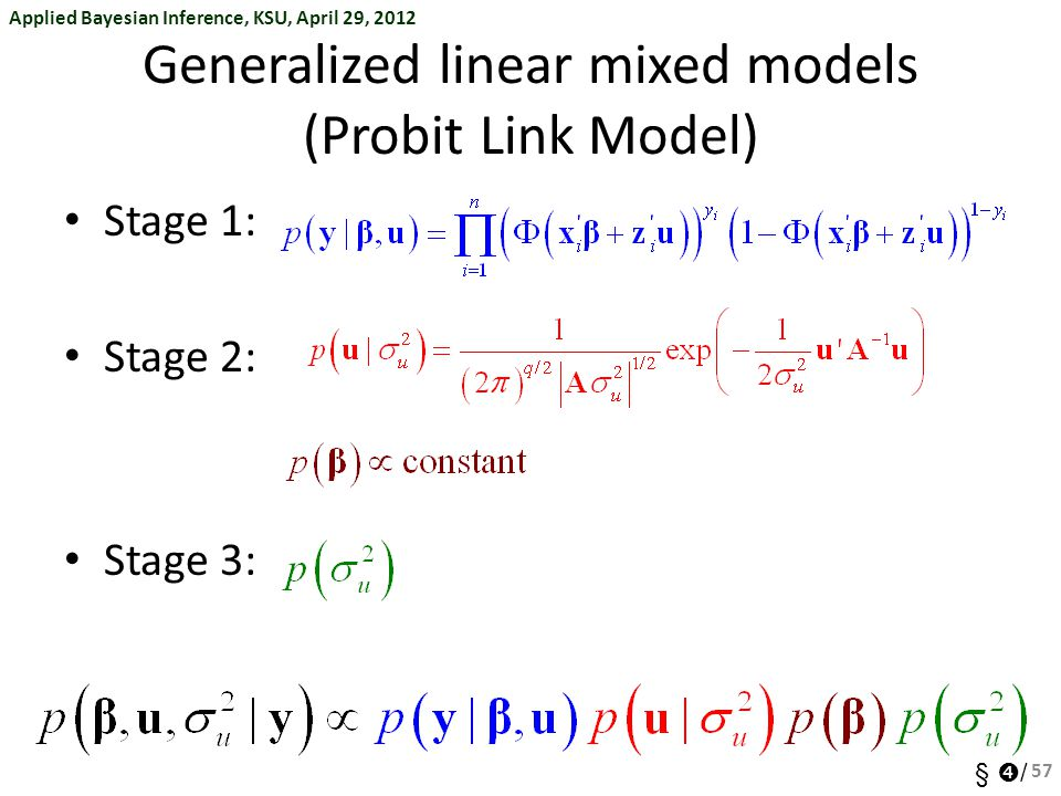 Generalized linear mixed models (Probit Link Model)