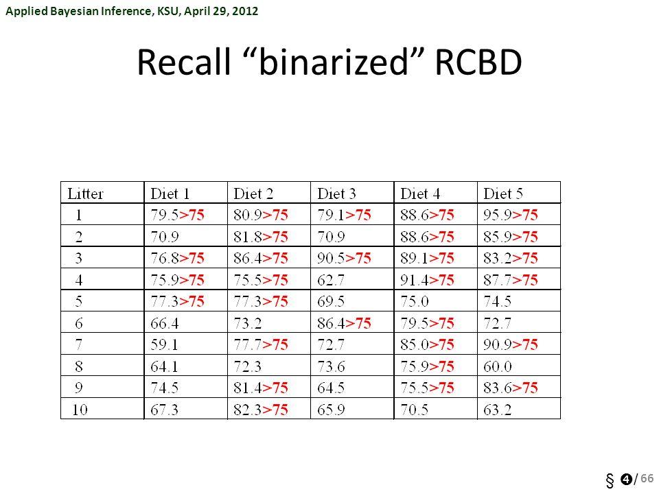 Recall binarized RCBD