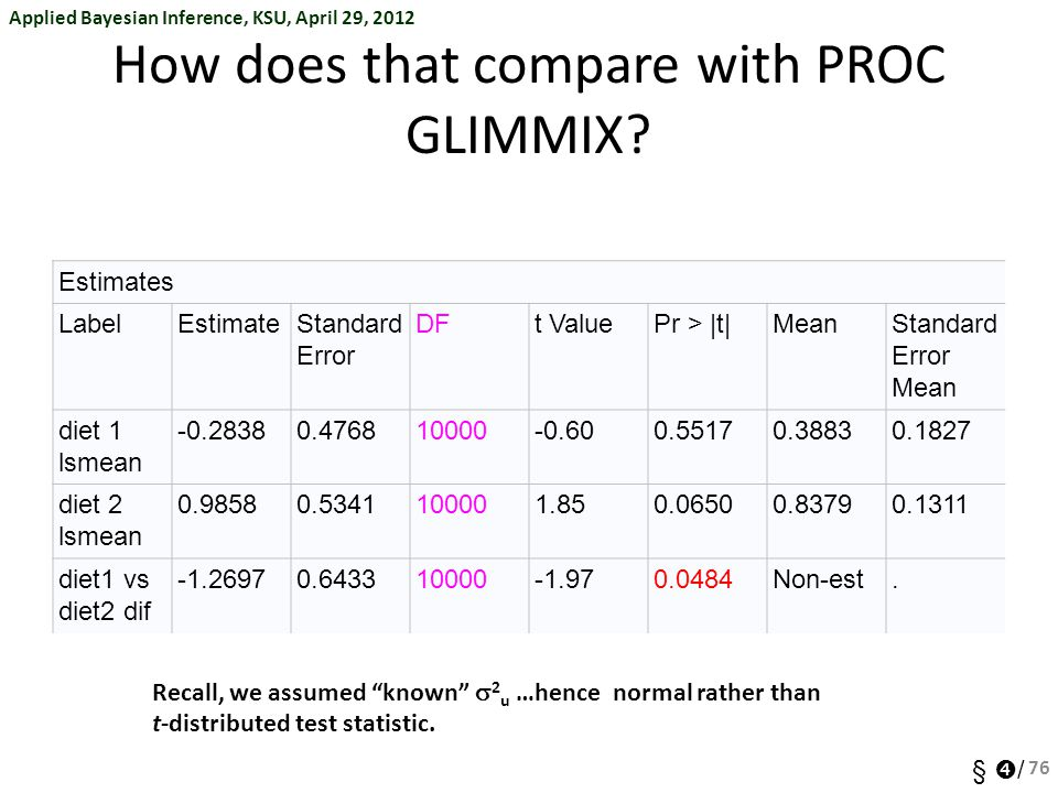 How does that compare with PROC GLIMMIX