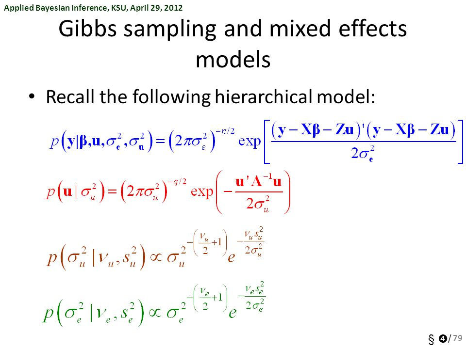 Gibbs sampling and mixed effects models