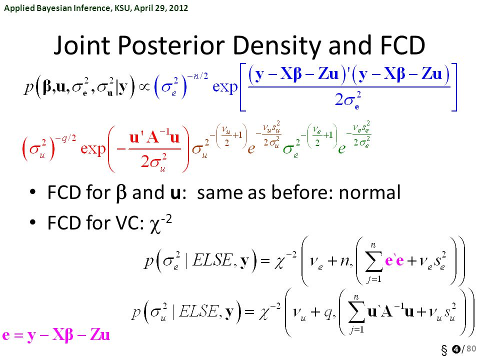 Joint Posterior Density and FCD