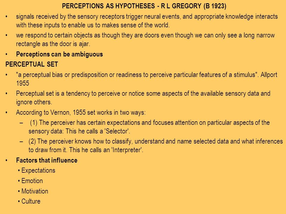 PERCEPTIONS AS HYPOTHESES - R L GREGORY (B 1923)