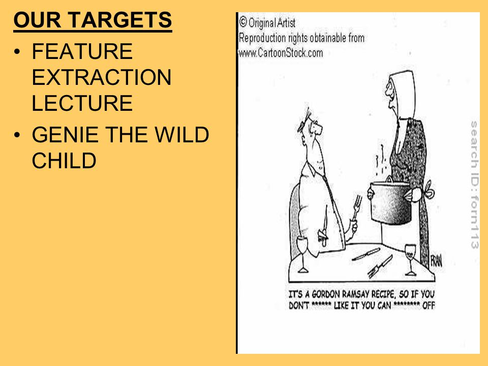 OUR TARGETS FEATURE EXTRACTION LECTURE GENIE THE WILD CHILD
