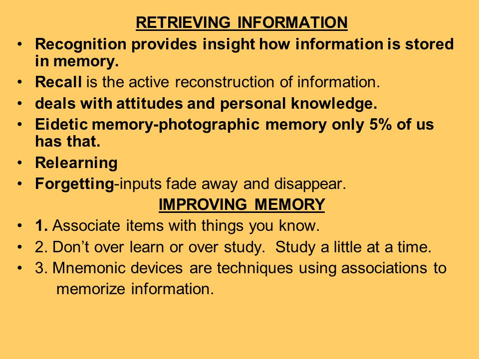 RETRIEVING INFORMATION