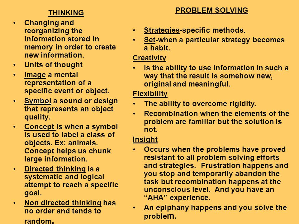 PROBLEM SOLVING Strategies-specific methods. Set-when a particular strategy becomes a habit. Creativity.