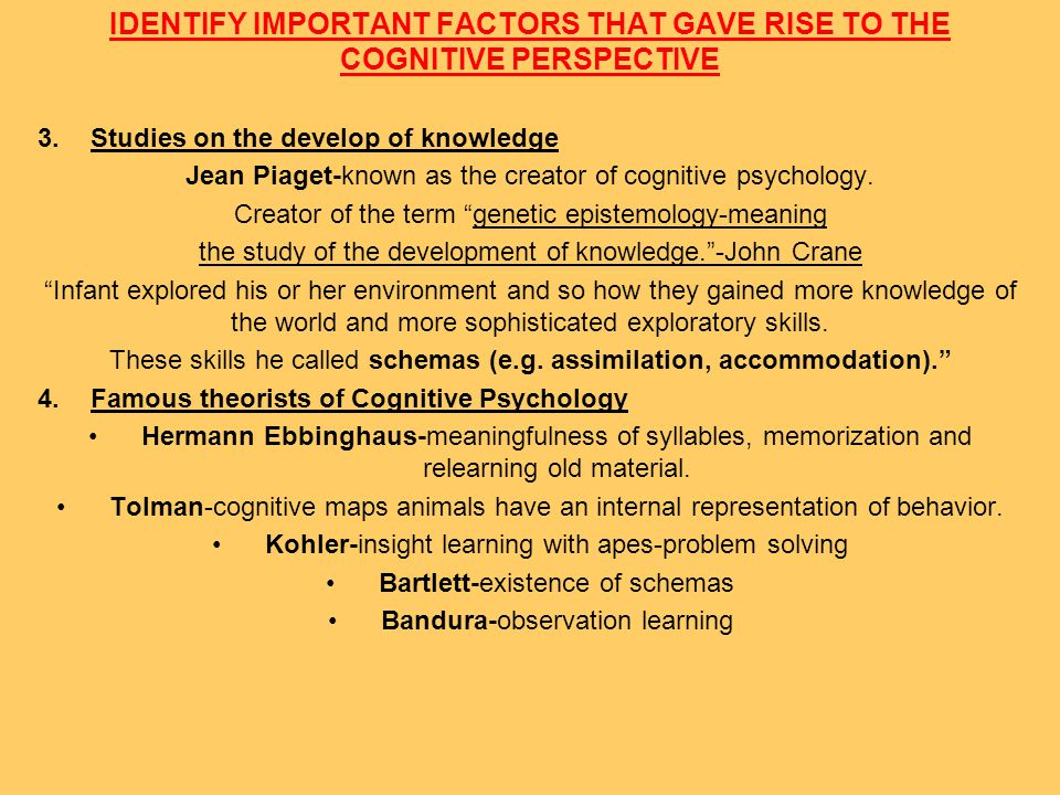 IDENTIFY IMPORTANT FACTORS THAT GAVE RISE TO THE COGNITIVE PERSPECTIVE