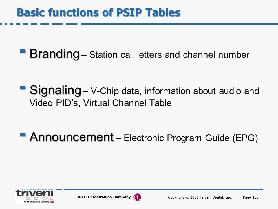 Basic functions of PSIP Tables