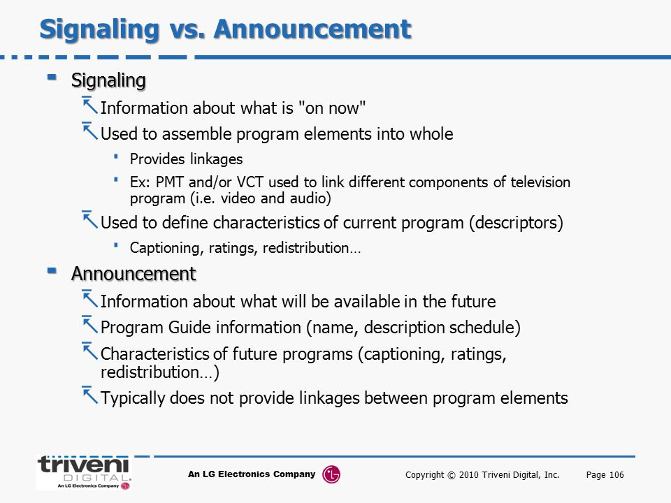 Signaling vs. Announcement