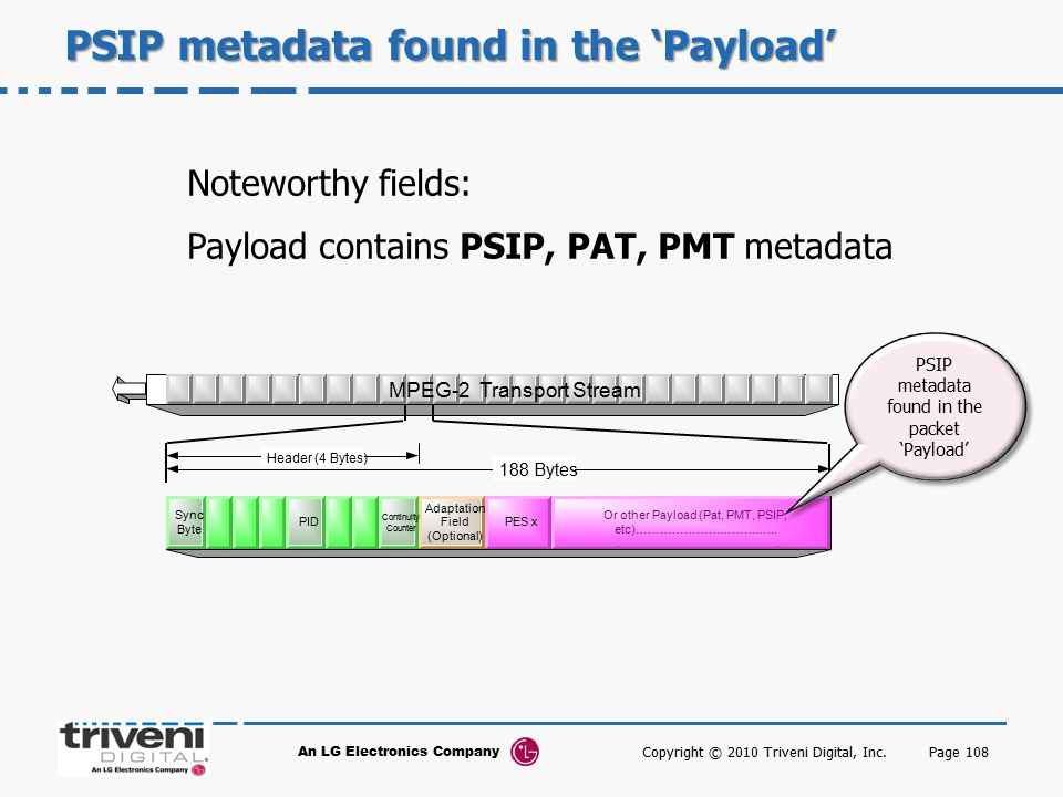 PSIP metadata found in the 'Payload'