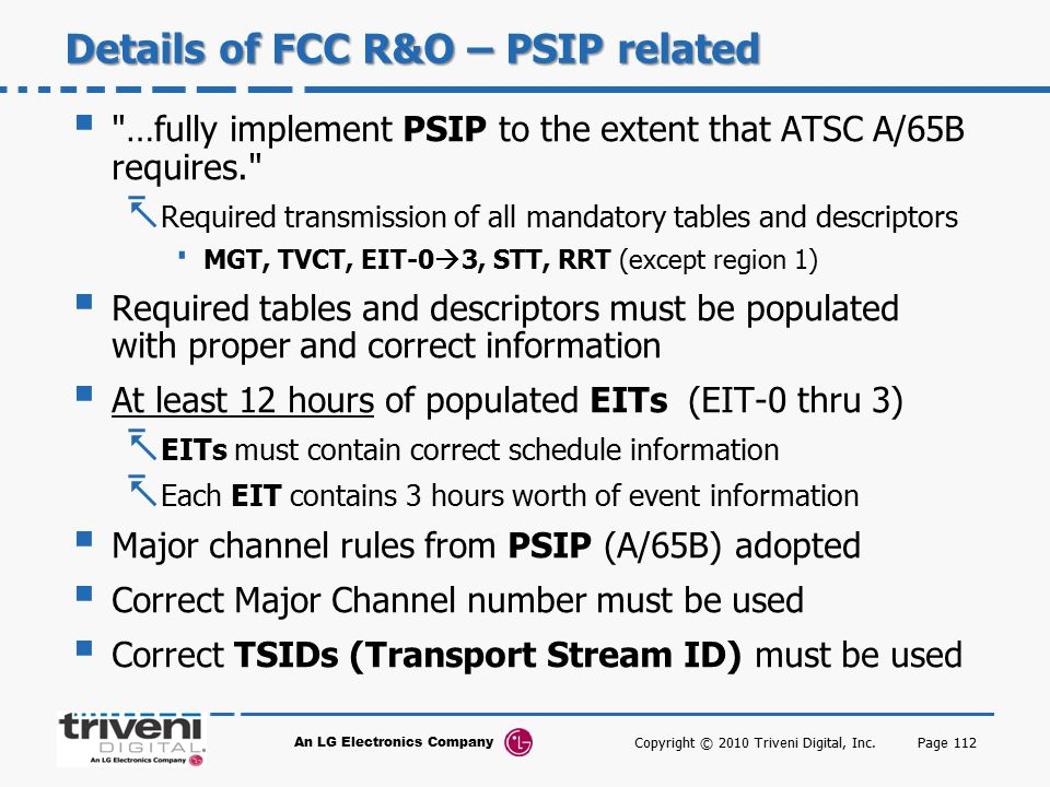 Details of FCC R&O – PSIP related