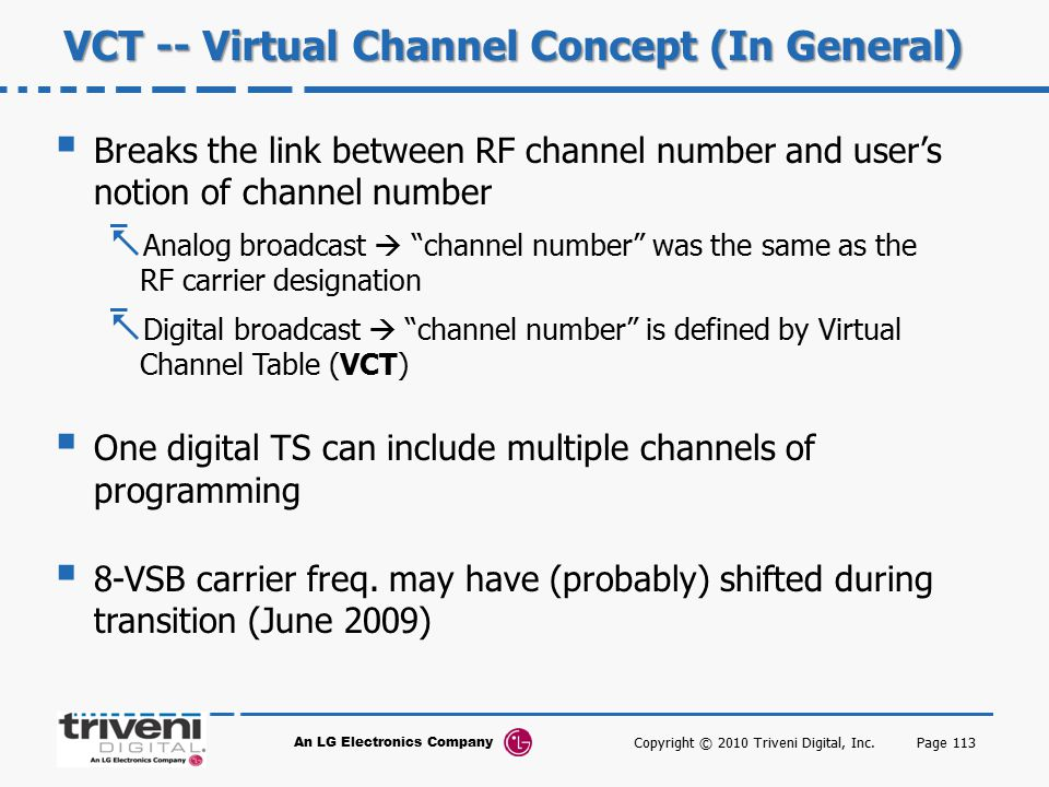 VCT -- Virtual Channel Concept (In General)