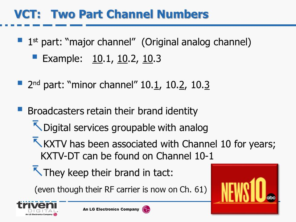 VCT: Two Part Channel Numbers