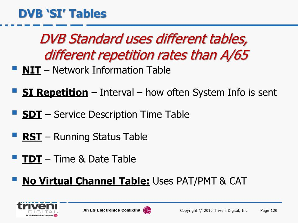 DVB Standard uses different tables,
