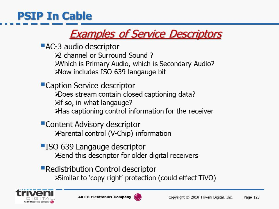 Examples of Service Descriptors