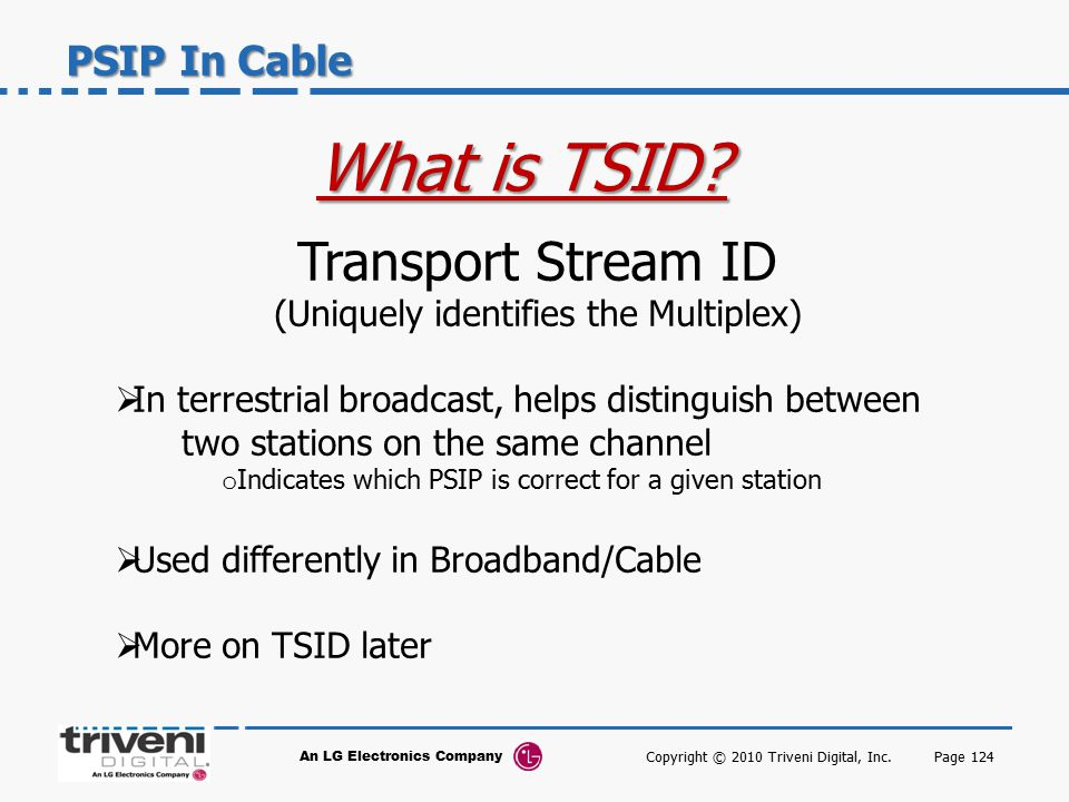 What is TSID Transport Stream ID PSIP In Cable