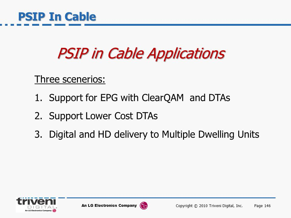 PSIP in Cable Applications
