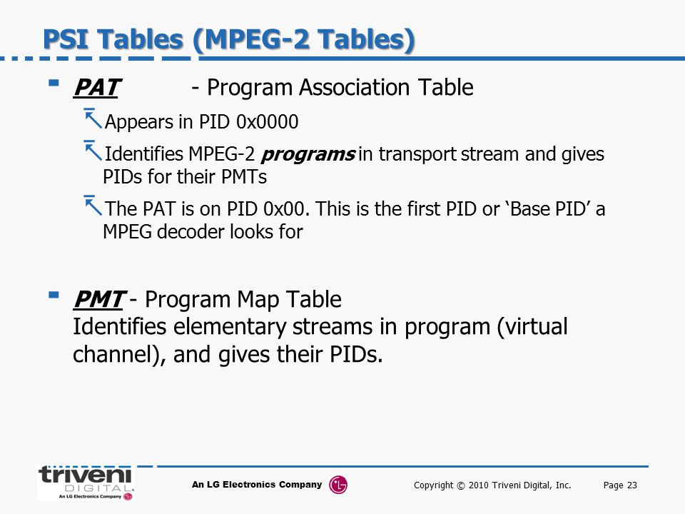 PSI Tables (MPEG-2 Tables)