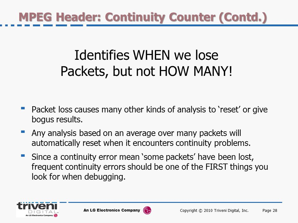MPEG Header: Continuity Counter (Contd.)