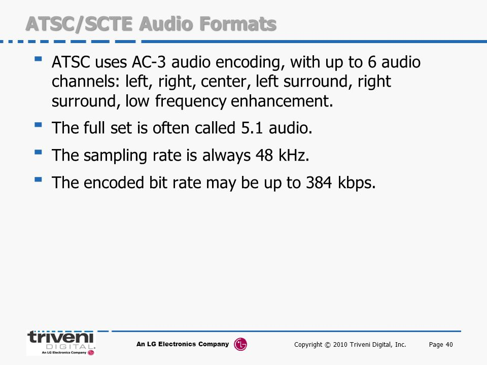 ATSC/SCTE Audio Formats