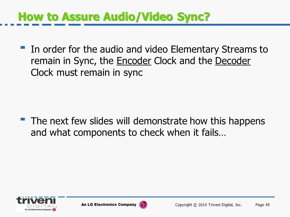 How to Assure Audio/Video Sync