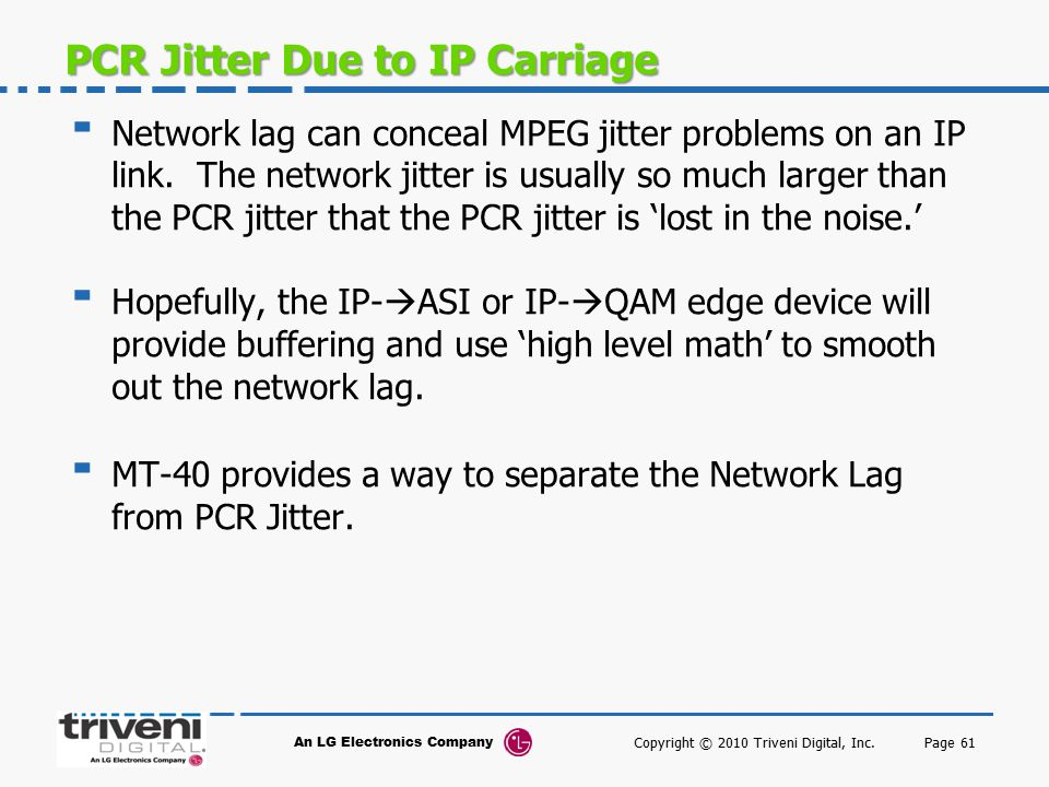 PCR Jitter Due to IP Carriage