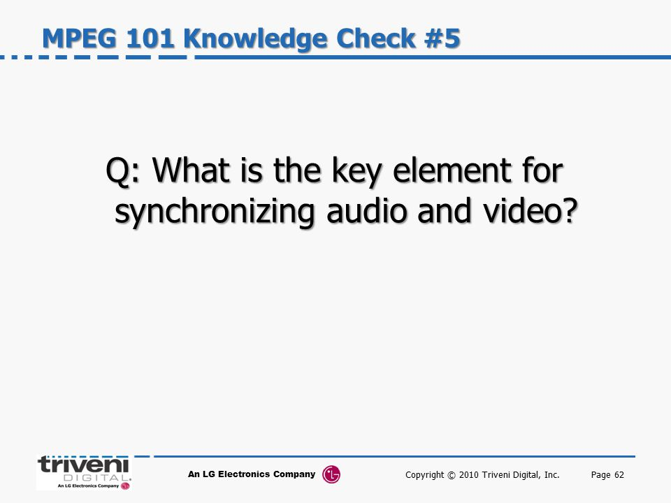 Q: What is the key element for synchronizing audio and video