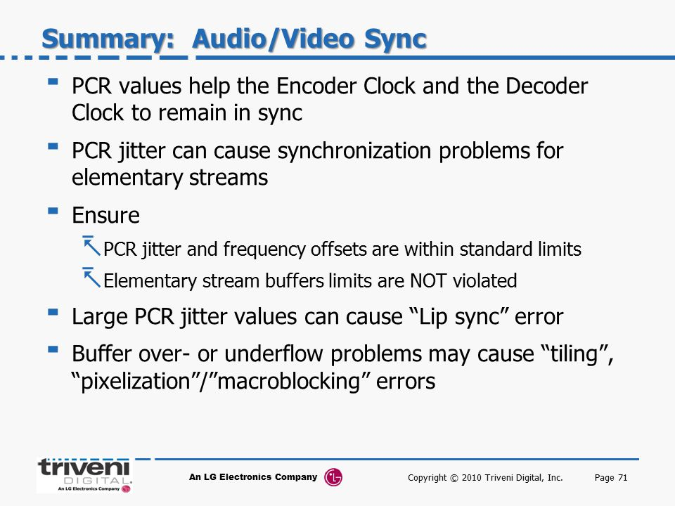 Summary: Audio/Video Sync