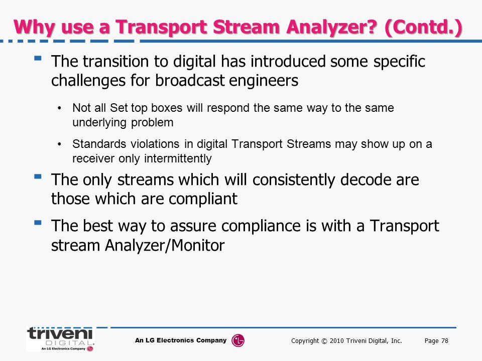 Why use a Transport Stream Analyzer (Contd.)