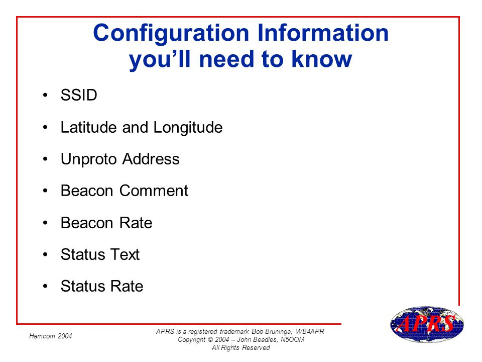 Configuration Information you'll need to know
